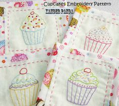 Hand Embroidery Pattern INSTANT DOWNLOAD Cupcakes