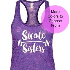 SWOLE SISTERS BARBELL  Cute, funny workout and fitness shirts and tanks!   Ask about custom orders! Click link in our profile  #TankTop #FitnessShirts #Exercise #Fitness #Fit #CrossTraining #Motivational #Lift #FunnyWorkoutShirts #Womenshirts  https://www.etsy.com/listing/515634625/swole-sisters-barbell-tank-top-friends?ref=shop_home_active_1