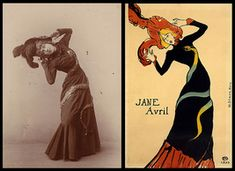 Picture Jane Avril photograph side by side the image created by Henri de Toulouse-Lautrec