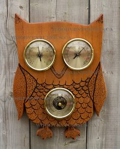 A custom made Owl Weather Station with brand new, high quality weather instruments: barometer, thermometer and hygrometer (humidity meter). You can
