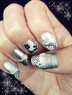 12.10.12  Bored... Black Netting Decals w/ Flowers on Revlon Metallic Silver.
