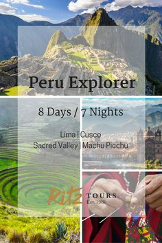 Explore Peru, a country rich in culture and tradition that puts over five thousand years of history at your fingertips. Begin in Lima, founded by Spanish conquistadors in 1535, and be enchanted by colonial architecture. Visit Cusco, the seat of the Incan Empire, the largest pre-Columbian empire in the Americas. Wonder at the majesty of ancient temples, and delight in the wares of local artisans, and spend a day awestruck at the largest archaeological site in Peru, Machu Picchu.