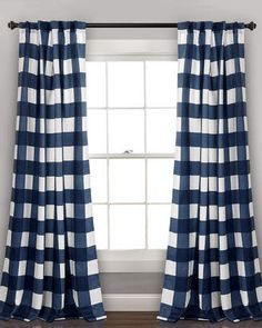 Triangle Home Fashion Kelly Checker Room Darkening Window Curtain Panels. Collection of affordable drapes. #draperies #homedecor #afflnk #funkthishouse
