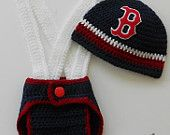 Crochet Baby Baseball Sports Hat, Diaper and Suspenders Set--Choose your team  Of course Boston is not allowed in our house but New York is