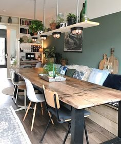 Could we do the table against a wall like this and have a living space too? Home sweet home Dining Room Design, Dining Room Decor, Room Design, House Interior, Home Kitchens, Home, Interior, Kitchen Design, Dining Room Table