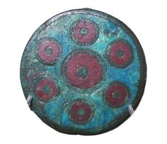 Copper alloy and enamel disc brooch.