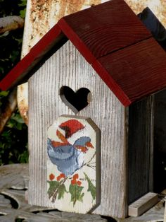 Wings of Love  Birdhouse Tabletop Upcycled by gardenfinds on Etsy, $35.00