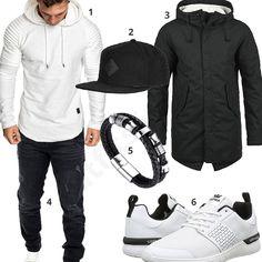 Lässiger Street-Style mit weißem Amaci&Sons Hoodie, Supra Sneakern, schwarzer Reslad Jeans, Djinns Snapback Cap, Halukakah Lederarmband und Produkt Parka.