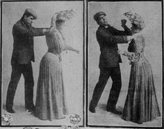 """When attacked from behind, she grasps a hatpin. Turning quickly, she is able to strike a fatal blow in the face."" — Hatpin self defence from San Francisco Sunday Call, 1904.   vintage self def for women"