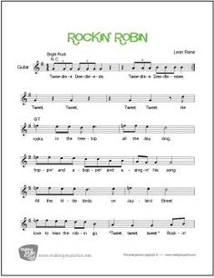 Rockin' Robin - Piano/Guitar/Vocal Lead Sheet (Digital Print) Recorded by Michael Jackson and Chuck Berry - Visit MakingMusicFun.net for free sheet music, music theory worksheets, and composer resources. Guitar Chords For Songs, Guitar Sheet Music, Piano Music, Music Music, Free Printable Sheet Music, Free Sheet Music, Music Theory Worksheets, More Lyrics, Rockin Robin