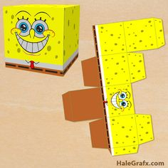 spongebob treat box FREE Printable Spongebob Squarepants Treat Box