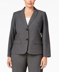 Calvin Klein Plus Size Pinstriped Two-Button Blazer | macys.com