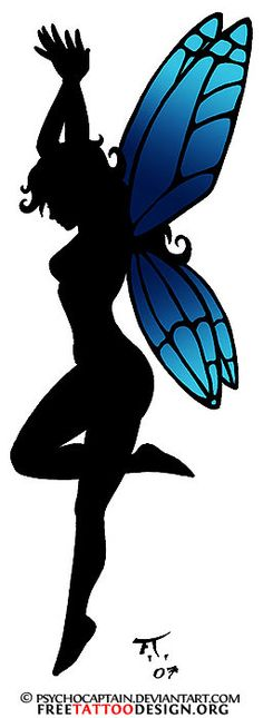 Tattoo of a fairy silhouette with blue wings