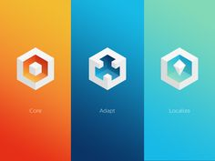 Core Adapt Localise - 3D icon design with use of geometric shapes, gradients, and shadows.