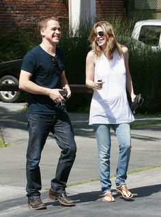Pregnant actress Ellen Pompeo and a friend look for baby furniture at LA Design Center on Western Ave.