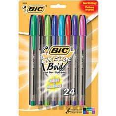 BIC Cristal Bold Ball Pens Bold Point 16mm Translucent Barrel Assorted Ink Colors Pack Of 24 by Office Depot