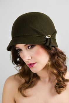 Wool Felt Hat  Olive Cloche by MaggieMowbrayHats on Etsy, £92.00