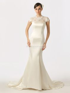 Lace Cap Sleeved Featured Satin Mermaid Wedding Dress with Buttons Back