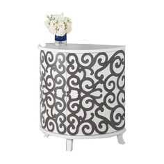 I pinned this Simona Cabinet from the Cachet Decor event at Joss and Main! - Store media essentials or extra linens in sophisticated style with the gorgeous Simona Cabinet. Showcasing a rounded silhouette wrapped in a stunning scrollwork motif, this eye-catching accent brings a touch of Hollywood glam to your foyer, bedroom, or sitting room.