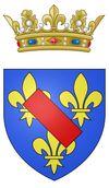 Coat of arms of the Prince of Condé.-  En octobre 1652, quand l'échec des frondeurs devient évident, il passe aux Pays-Bas où il se met au service du roi d'Espagne. Condamné à mort par le Parlement de Paris, il est gracié et pardonné par Louis XIV à l'occasion du traité des Pyrénées (1659). Par la suite Condé manifeste une si parfaite soumission que pendant la guerre de Dévolution (1668), le roi lui confie la conquête de la Franche-Comté, réalisée en 3 semaines