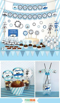 Robot Party Package Robot Birthday Printables by PixieBearParty