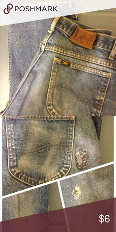 """Work jeans Damaged when new, but mended. See pics. Measures: 32""""W x 30""""L Lee Jeans"""