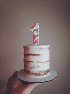 naked 1st birthday smash cake | hand painted topper | rustic smash cake | Whisk Until Sweet