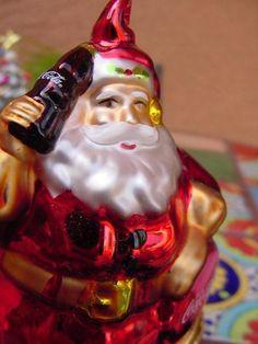 COCA COLA CHRISTMAS ORNAMENT Blown Glass SANTA CLAUS w BOTTLE OF COKE NEW MIB