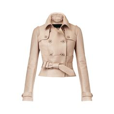 Burberry Leather Corset Trench Jacket (1,660 KWD) ❤ liked on Polyvore featuring outerwear, jackets, coats, burberry, coats & jackets, casacos, tops, giacche, beige and blazers/jackets
