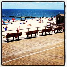 Long Beach, NY. Easy to get to from NYC, and a fabulous boardwalk to boot.