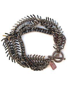 gunmetal fishbone bracelet