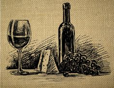 This listing is for one 8.5 X 11 digital sheet with one illustration of the One Bottle and Wine Glass with Cheese and Grape.  Actual image size