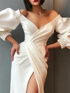 Puff sleeve dresses - Off Shoulder Puff Sleeve Split Long Dress – Puff sleeve dresses Elegant Dresses For Women, Sexy Dresses, Beautiful Dresses, Dress Outfits, Fashion Dresses, Prom Dresses, Sheath Dresses, Night Dress For Women, Bild Outfits
