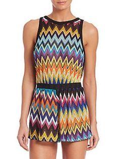 Knit Short Jumpsuit Missoni Mare - Short jumpsuit knit in signature zigzag…
