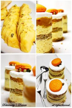 Le Mangue Entremet ; Pistachio Joconde with mango bavarian cream and white chocolate chantilly