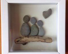 Dragon Flies-Natural Beach Stones/ Pebble Art/ Canvas Art/
