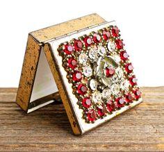 classy pill box image | Antique Rustic Pill Box - Vintage Gold Tone Red Rhinestone Encrusted ...