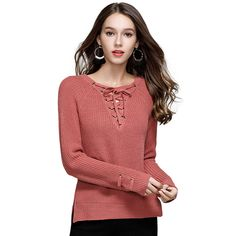 Casual Knitted Drawstring V Neck Solid Color Long Sleeve  Women Fashion Pullover Sweater #Suvance #sweaters #women_clothing #stylish_sweater #style #fashion
