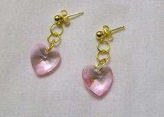 Simple Heart Earrings, Pink Heart Earrings, Crystal Heart Earrings, Post Earrings by VintagePlusCrafts on Etsy