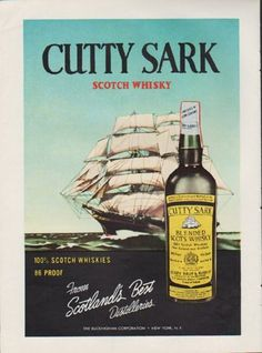 "1959 CUTTY SARK vintage print advertisement ""From Scotland's Best Distilleries"" ~ Cutty Sark Scotch Whisky ... The Buckingham Corporation ~"