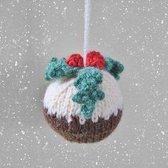 Christmas Pudding bauble decoration knitting pattern