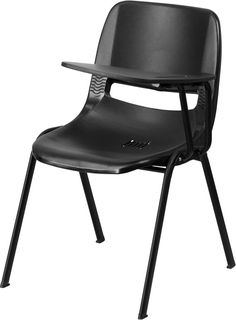 Black Ergonomic Shell Chair With Left Handed Flip Up Tablet Arm