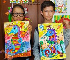 Seahorse painting for kids