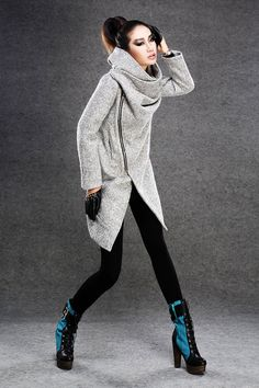 Gray coats jackets winter coats for women. $108.00, via Etsy.