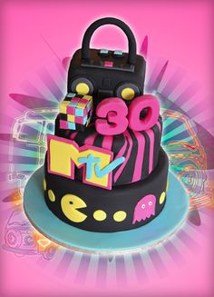 80s Theme Cake idea for #80sParty #sweetsixteen designed by @ PartiesBloom.