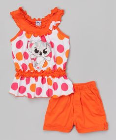 Look what I found on #zulily! Salmon Koala Ruffle Tank & Shorts - Toddler & Girls #zulilyfinds