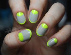 woah! neon green and gray french tips and crescents. (This would look good with nude nail polish too.)