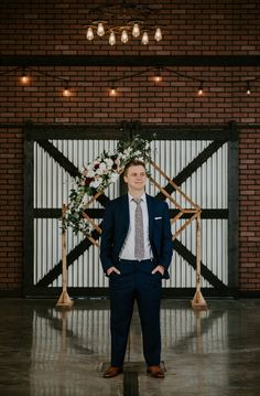 Modern industrial elopement at 52 North Venue. This groom wore a dark navy suit for his modern elopement. Groom Wear, Groom Attire, Industrial Wedding, Modern Industrial, Mother Of The Groom Presents, Dark Navy Suit, Chic Wedding, Dream Wedding, Classic Tuxedo