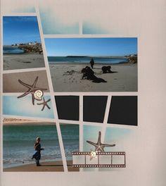 Im gonna need this idea for my next beach photos Beach Scrapbook Layouts, Scrapbook Designs, Travel Scrapbook, Scrapbooking Layouts, Scrapbook Paper, Digital Scrapbooking, Creative Memories, Grafik Design, Photo Book