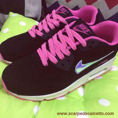 scarpe da ginnastica 325213-011 Nero Rosa Argento Nike Air Max 90 ec47e7b46b1